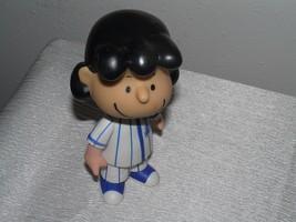 PMI Marked Plastic Hard Rubber Peanuts Statue Figurine of LUCY in Blue White - $8.59