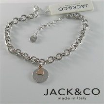 925 RHODIUM SILVER JACK&CO BRACELET WITH 9KT ROSE GOLD HEART LOVE  MADE IN ITALY image 1