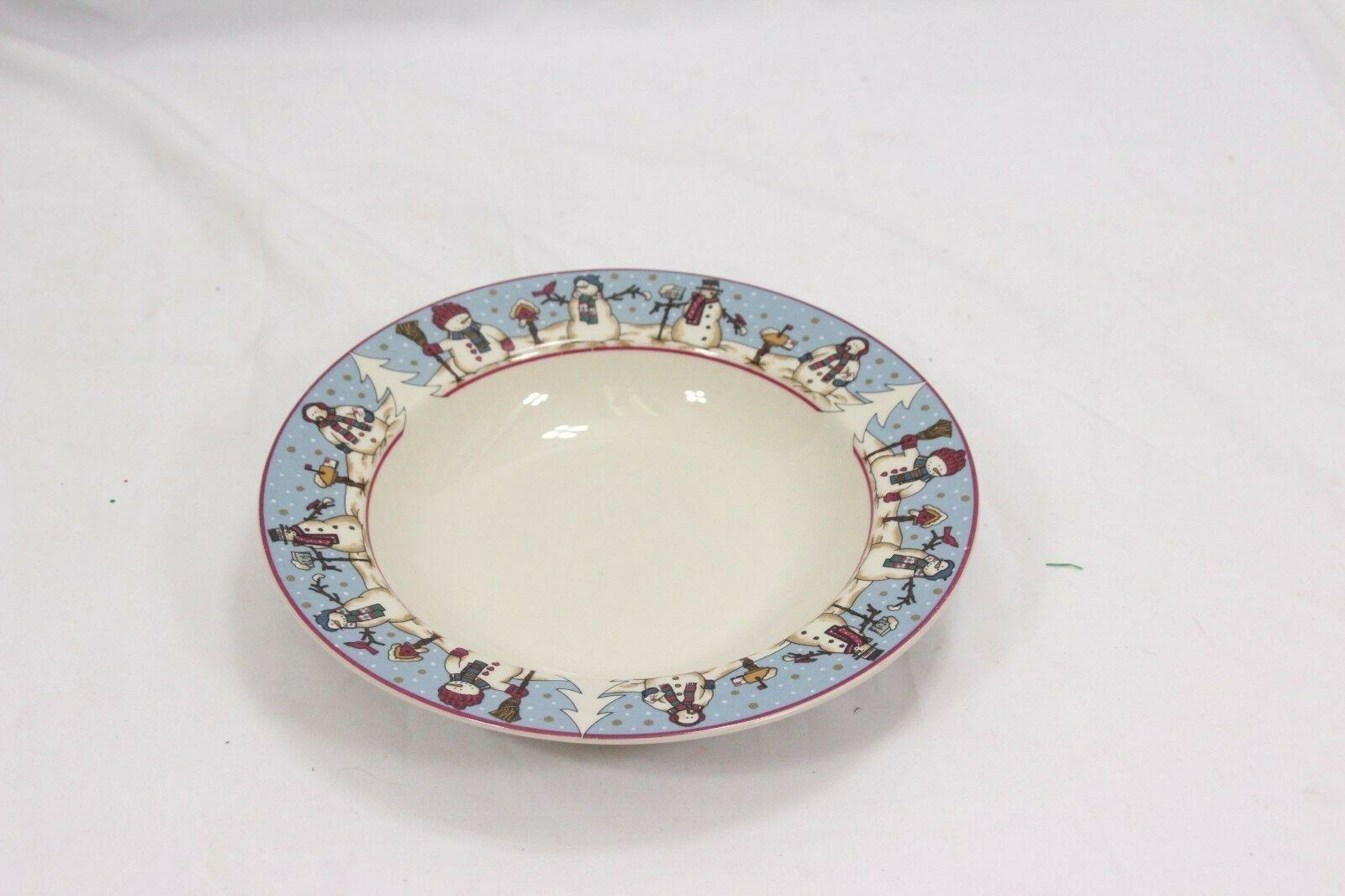 "Snowmen Serenade Rim Soup Bowls Cambridge 8.5"" Set of 12 image 4"