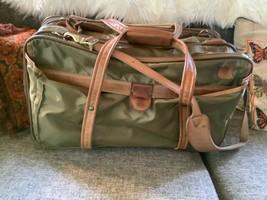 Vtg Hartman luggage suitcase carry on duffle bag leather nylon - $69.29