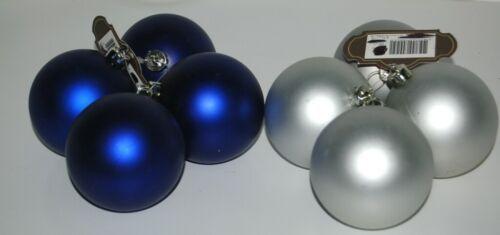 Trim a Home Color Blue Flat Pearl Christmas Ball Ornament Set 8 Pieces