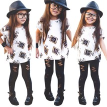 Fashion Kids Baby Girls Autumn Outfits Short Sleeve Tops and Pants Cloth... - $15.70