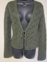 The Limited Sz M Crochet Knit Olive  Bell Sleeve Tie Front Sweater Cardi... - $11.99