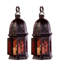 Set 2 Enchanting Cutwork Lantern Amber Glass Candleholder Wedding Center... - $21.63