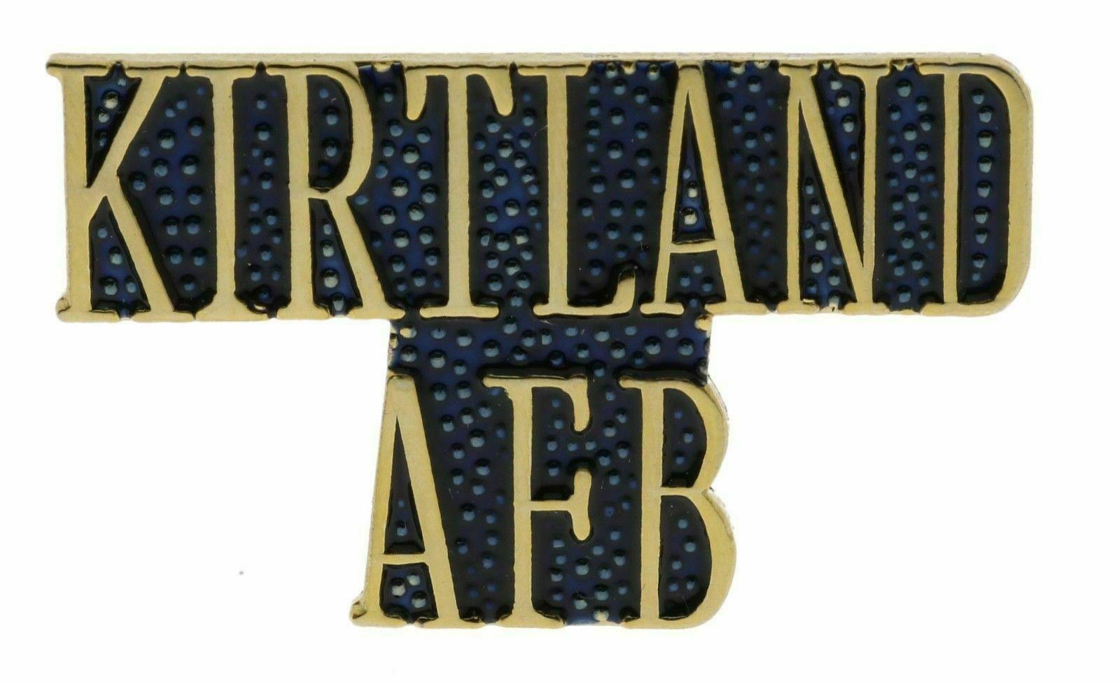 KIRTLAND  AFB AIR FORCE BASE SCRIPT  GOLD  LAPEL PIN - $18.04