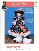 """Country Girl 15"""" Doll Outfit Td Creations Sewing Pattern Leaflet Td-901 HTF - $6.27"""
