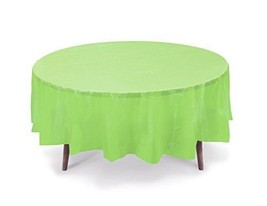 """9 PACK, 84"""" Lime Green Round Plastic Table Cover, Economy Table Cloth Reusable - $24.74"""