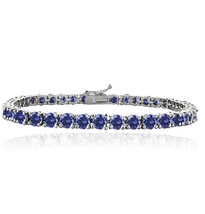 Sterling Silver Simulated Tannzanite 4mm Round Tennis Bracelet - $124.41+