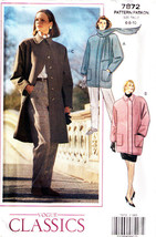 1990 Misses' Loose-Fitting COAT Vogue Pattern 7872-v Sizes 6-8-10 - UNCUT - $12.00