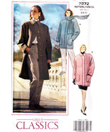 1990 Misses' Loose-Fitting COAT Vogue Pattern 7872-v Sizes 6-8-10 - UNCUT - $20.00