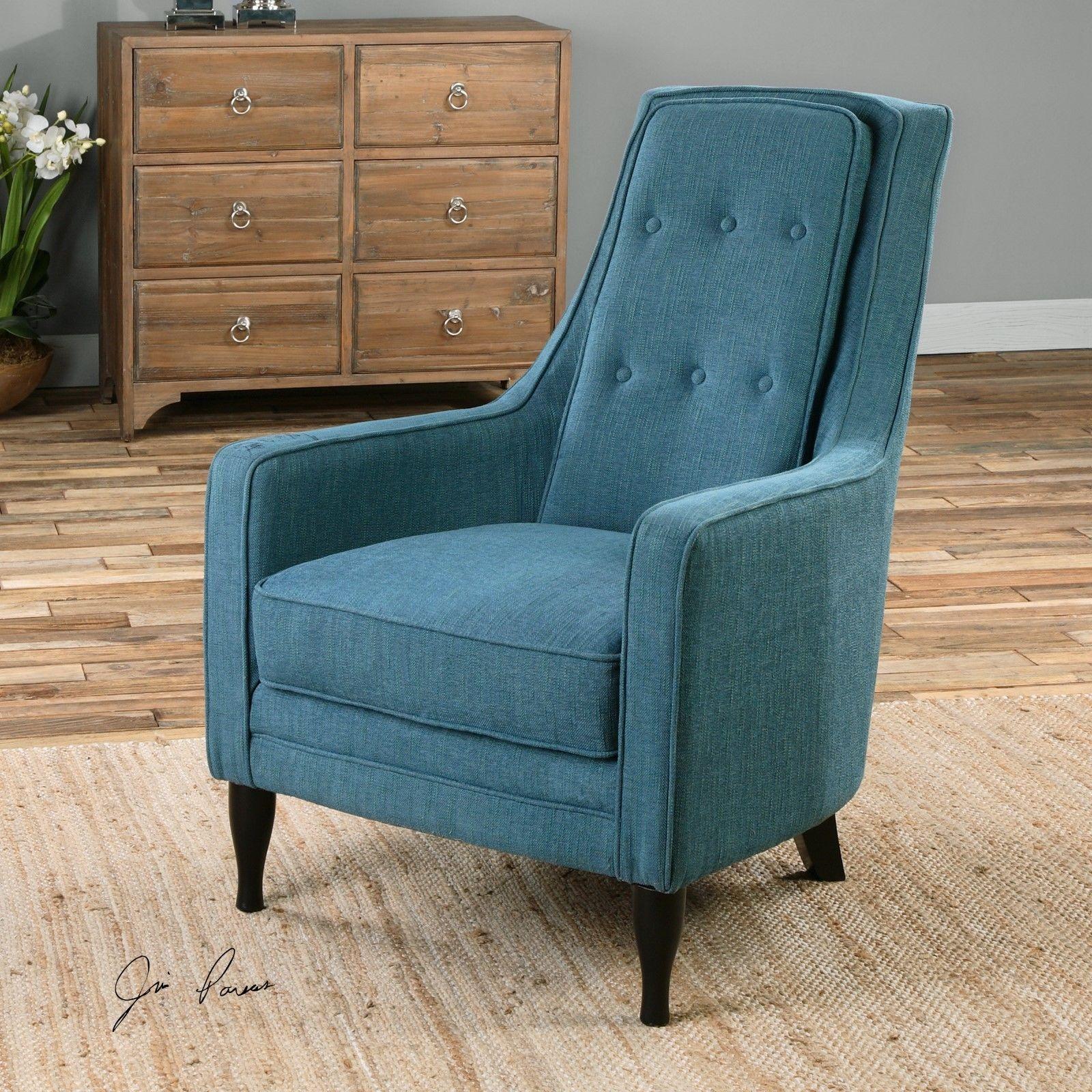 Rollins Modern Arm Chair Blue: PEACOCK PLUSH BLUE ARM HIGH BACK ACCENT CLUB CHAIR EBONY