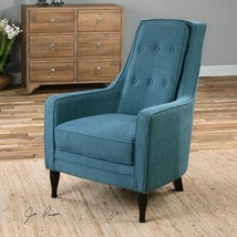 PEACOCK PLUSH BLUE ARM HIGH BACK ACCENT CLUB CHAIR EBONY LEGS MODERN - $877.80