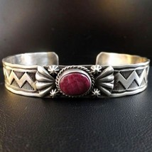 Native Navajo Sterling Silver Purple Spiny Shell Bracelet s6.75 R&E Endito - $259.00