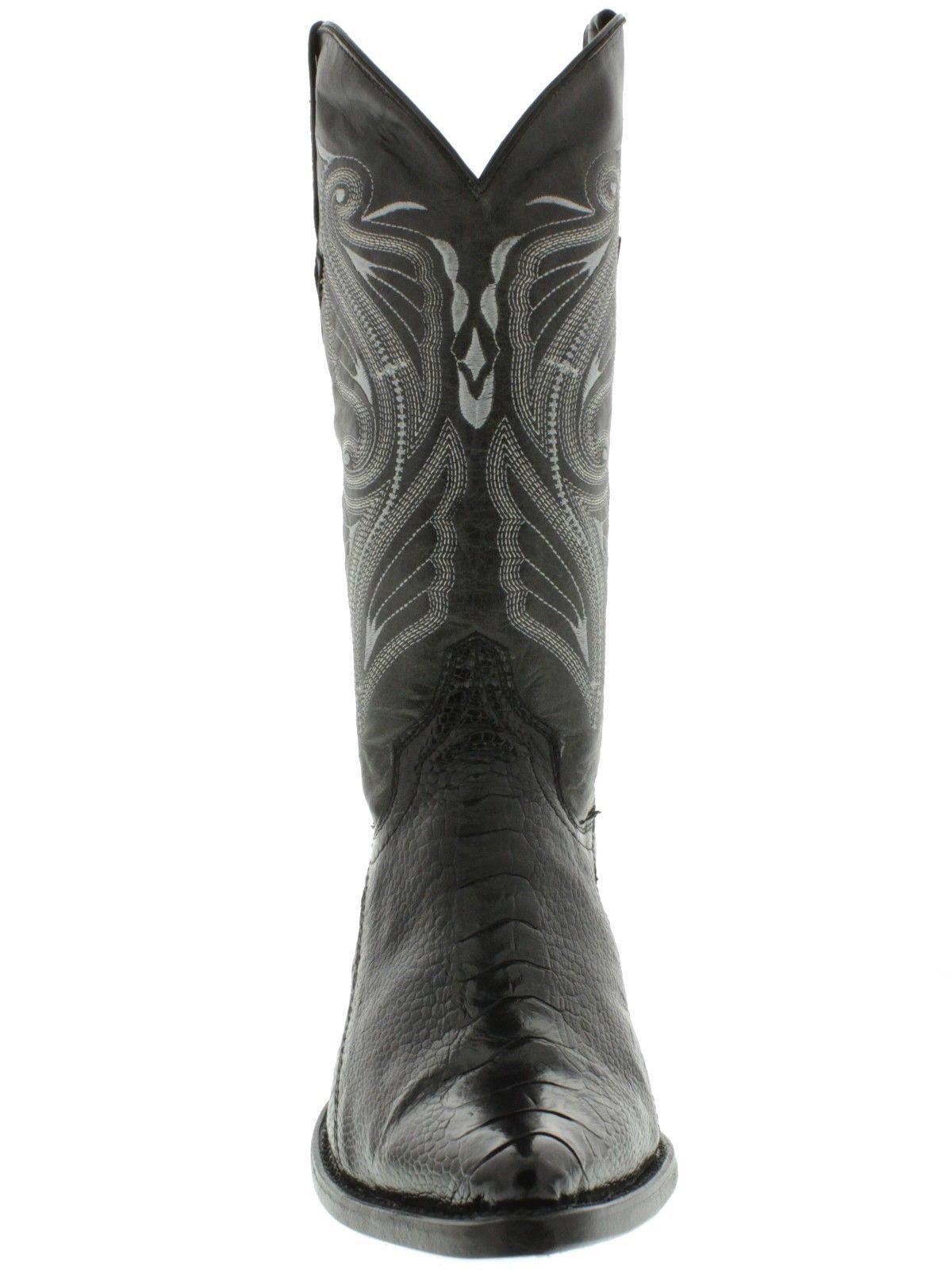 Mens Black Stingray Pattern Leather Western Cowboy Boots Row Stone Round Toe