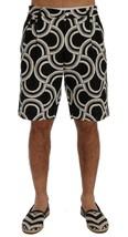 New $610 Dolce & Gabbana Men Black White Pattern Linen Shorts It52-Xl - $199.96