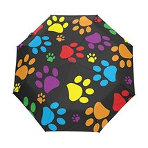 WOZO Colorful Paw Print 3 Folds Auto Open Close Umbrella - $41.34
