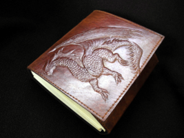 Handmade Leather Journal, Notebook, Sketchbook  - with Friendly Magic Dr... - $27.50