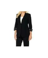 Susan Graver Artisan Chelsea Stretch 3/4 Sleeve Blazer Jacket BLACK sz 4... - $29.68