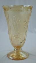 """Jeannette Glass Iris & Herringbone Marigold/Amber Vase 9"""" Tall - $12.38"""