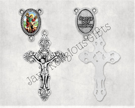Gold Bronze or Silver - Crucifix and Saint Michael Centerpiece Set for S... - $5.95