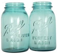 Ball Perfect Mason Jars Aqua Blue Antique #4 #9 1913-1922 Exc Cond Pair Set - $37.42