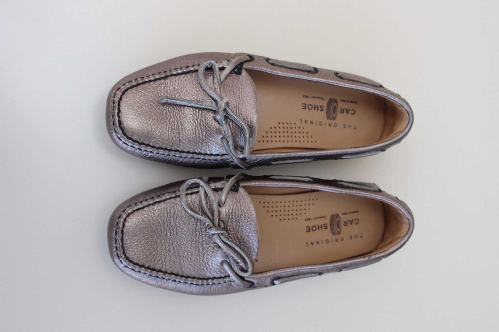 The Original Car Shoe PRADA Metallic Gold Bronze Loafer Shoes Women Sz 35 US 5
