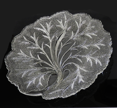 """Vintage Indiana Glass Pebble Leaf Dish Twiggy Serving Plate 1960s 10"""" - $10.00"""