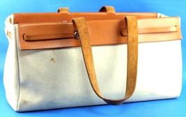 Auth HERMES Herbag Cabase GM Tote Shoulder Bag Toile Natural Canvas & Le... - $494.01
