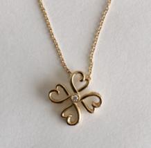 TIFFANY & Co Rubbing Heart Pendant Clover Design K18PG New - $1,149.38