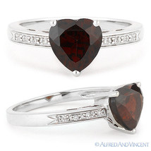 1.68 ct Heart-Shape Garnet & Round Cut Diamond Engagement Ring in 14k Wh... - €384,53 EUR
