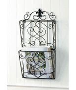 Fleur de Lis Dual MAGAZINE WALL RACK Brown Basket  - $32.95