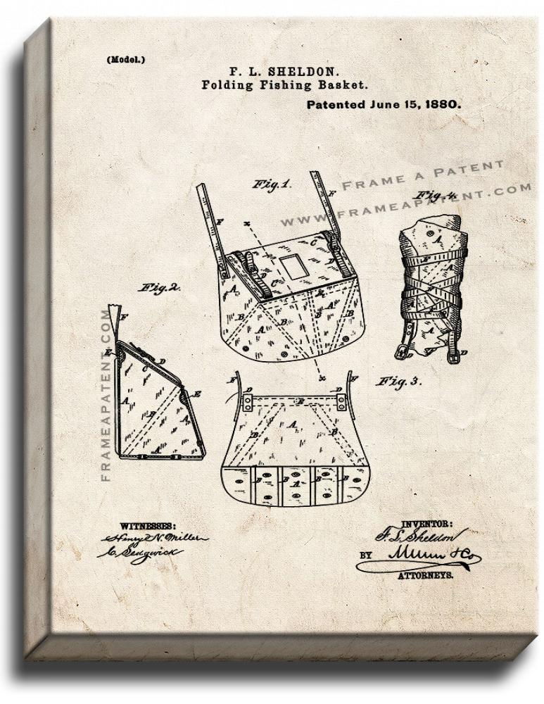 Primary image for Folding Fishing Basket Patent Print Old Look on Canvas