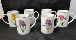 Coffee Mugs: Golden Leaf Floral By Muirfield, Tea Cups w Gold Trim, Set ... - $29.02