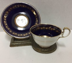 Aynsley England Cup and Saucer Cobalt Blue Gold Trim Vintage - $39.59
