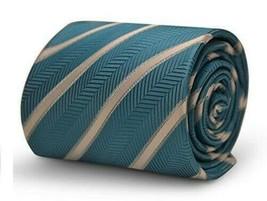 Frederick Thomas Designer Mens Tie - Turquoise Teal Blue - Herringbone S... - $15.79