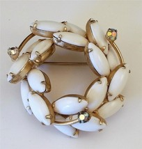 WEISS Signed Lovely Tiered Aurora Borealis Milk White Rhinestones Brooch... - $37.62