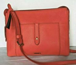 New Fossil Jenna Top Zip Leather Crossbody handbag Lava color - $74.00