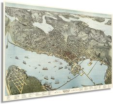 1891 Seattle Map Poster - Vintage Map Wall Art of Seattle King County Washington - $34.99+