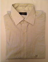 Men's Club Room Easy Care Check Tattersall Dress Shirt 15.5 32/33 Yellow... - $19.99