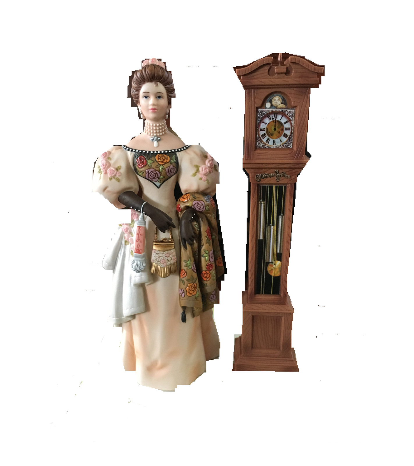 Lady standing next to grand father clock