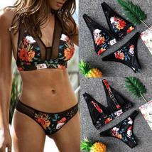 Women's Floral Printing PushUp Padded Bra Beach Bikini Set Swimwear Beachwear F image 2