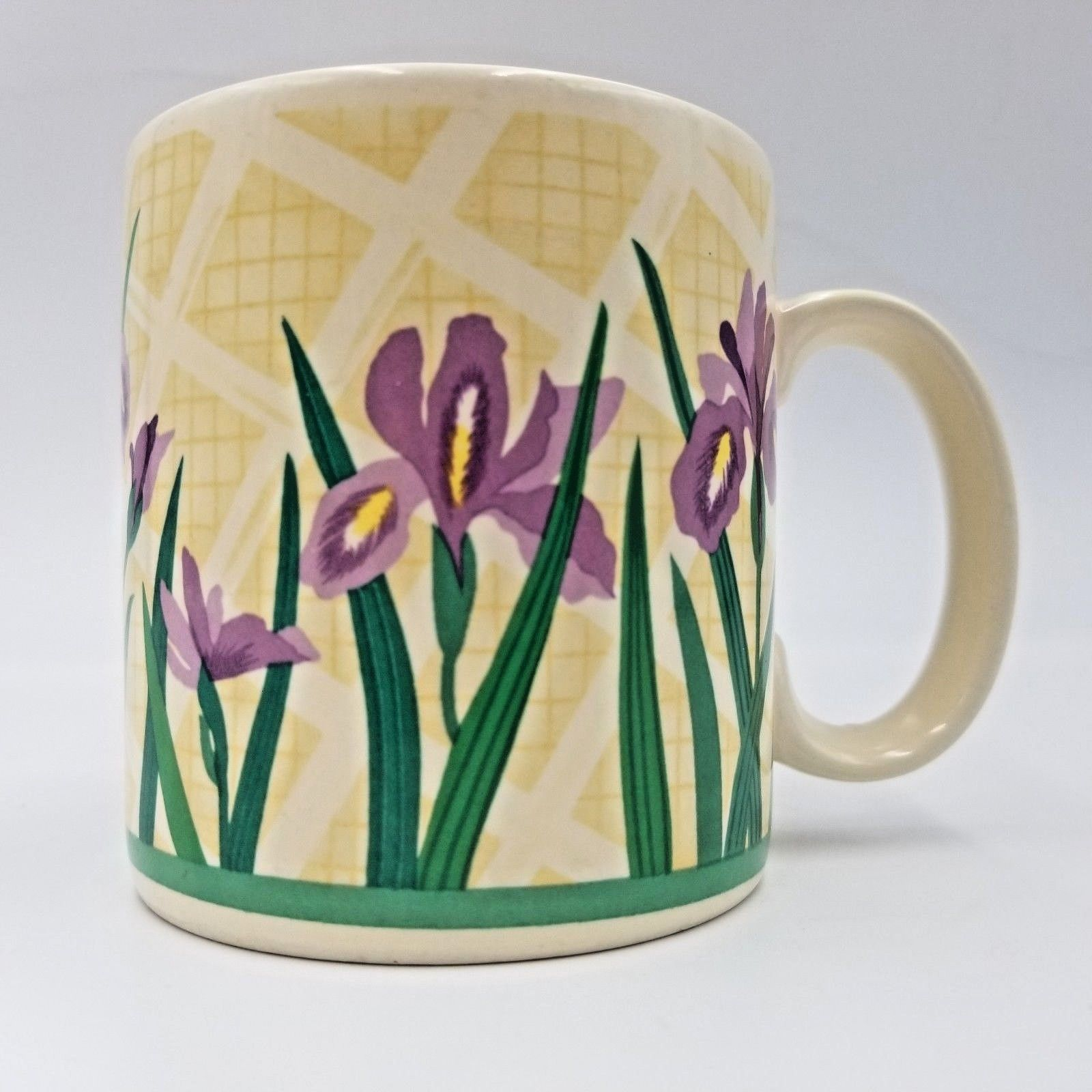 Primary image for Purple Iris Flowers on Off White Coffee Mug Tea Cup by Russ Berrie Company 8755