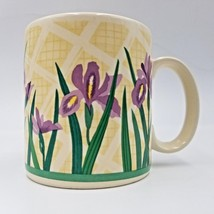 Purple Iris Flowers on Off White Coffee Mug Tea Cup by Russ Berrie Compa... - $24.99