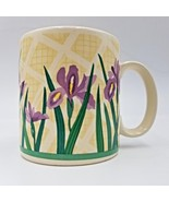 Purple Iris Flowers on Off White Coffee Mug Tea Cup by Russ Berrie Compa... - $24.99