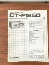 Pioneer CT-F1250 Cassette Owners Manual *Original* - $27.88