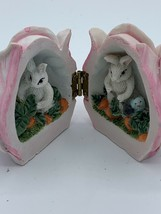 Bunny Rabbit Farming Inside Folding Flower Blossom Easter Pink Bud - $10.00