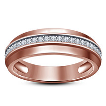 Pure Sterling Silver Rose Gold Plated Round Cut White CZ Men's Band Wedd... - $89.77