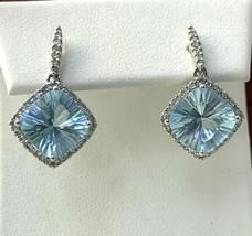 Aquamarine Petite Drop Earrings with Diamond in 14K White Gold   - $441.53