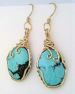 Turquoise gold wire wrap earrings 6