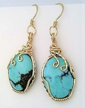 Turquoise Gold Wire Wrap Earrings 6 - $45.00